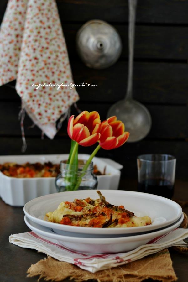 Cannelloni con ricotta, zucca e carciofi