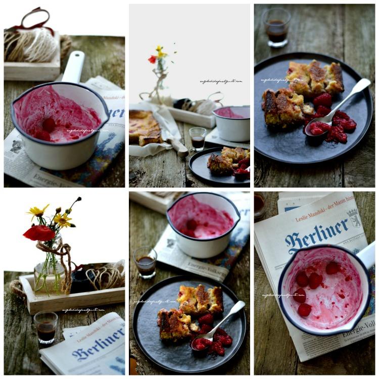 White chocolate and raspberries cream cake Collage
