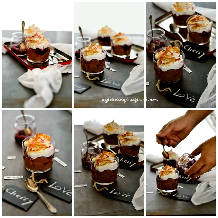 Mousse al cioccolato fondente, ciliegie caramellate e meringa