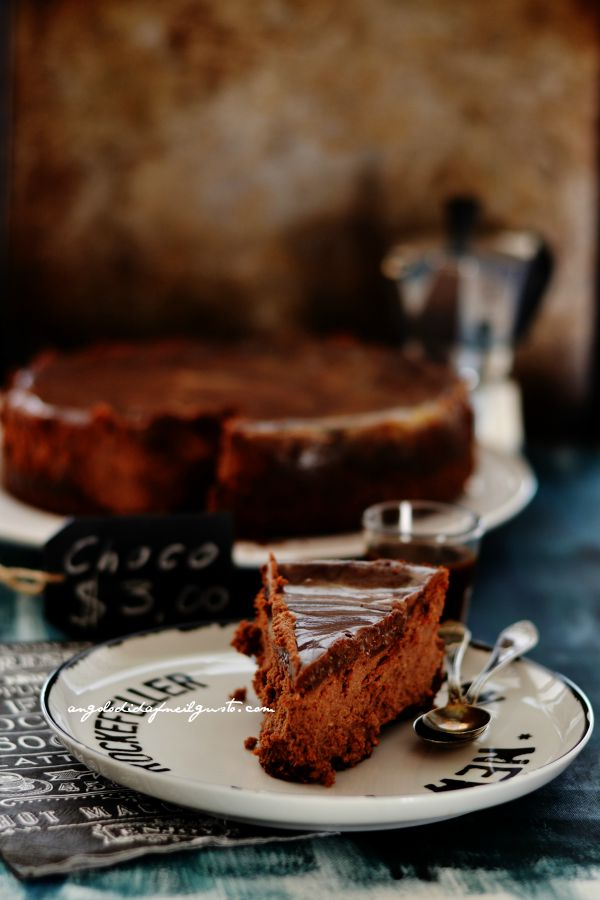 Chocolate mousse cheesecake with salted caramel sauce (2)
