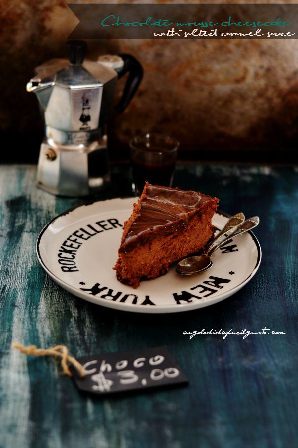 Chocolate mousse cheesecake with salted caramel sauce (7)