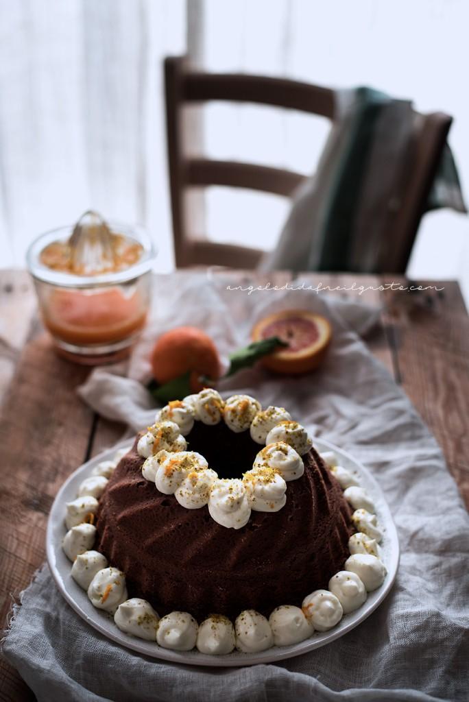 Ciambella al cioccolato con farina di riso, carote, mandorle e arancia856