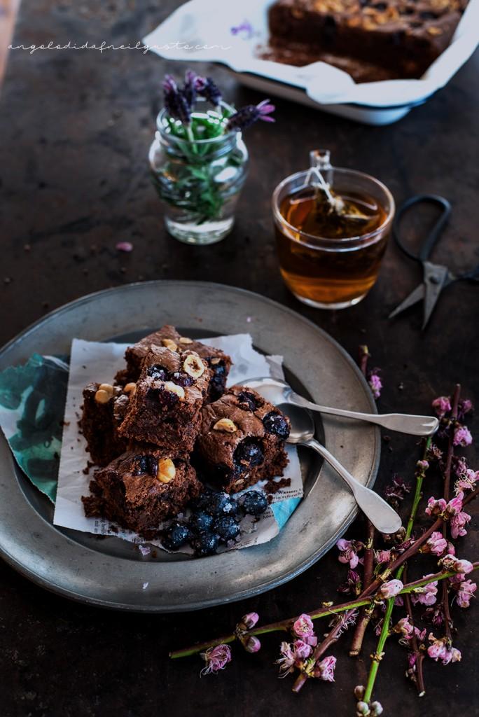 Brownies al cioccolato, cocco e avena con mirtilli e nocciole_3744