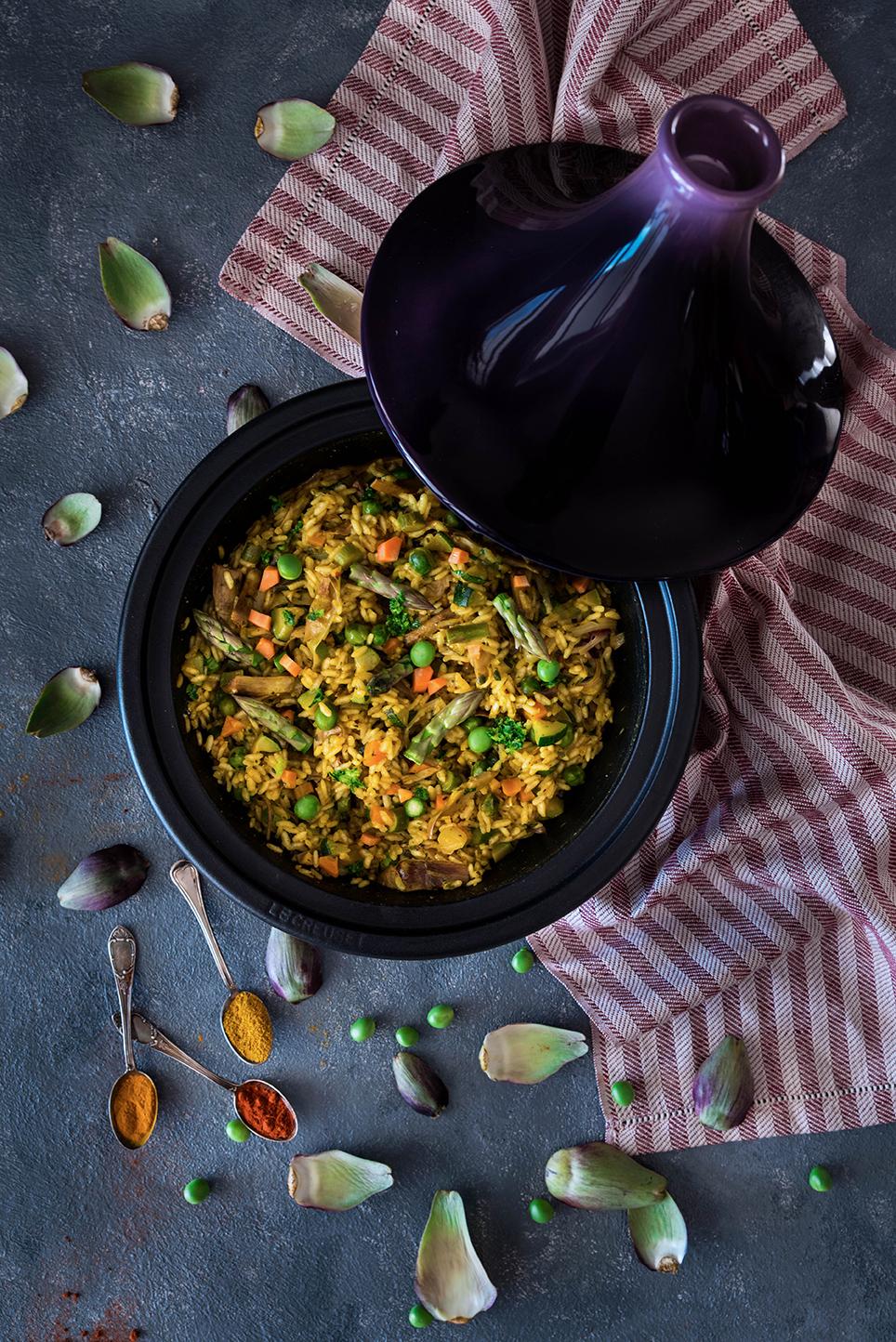 Spezie Marocchine Per Tajine.Riso In Tajine Con Verdure Primaverili E Spezie
